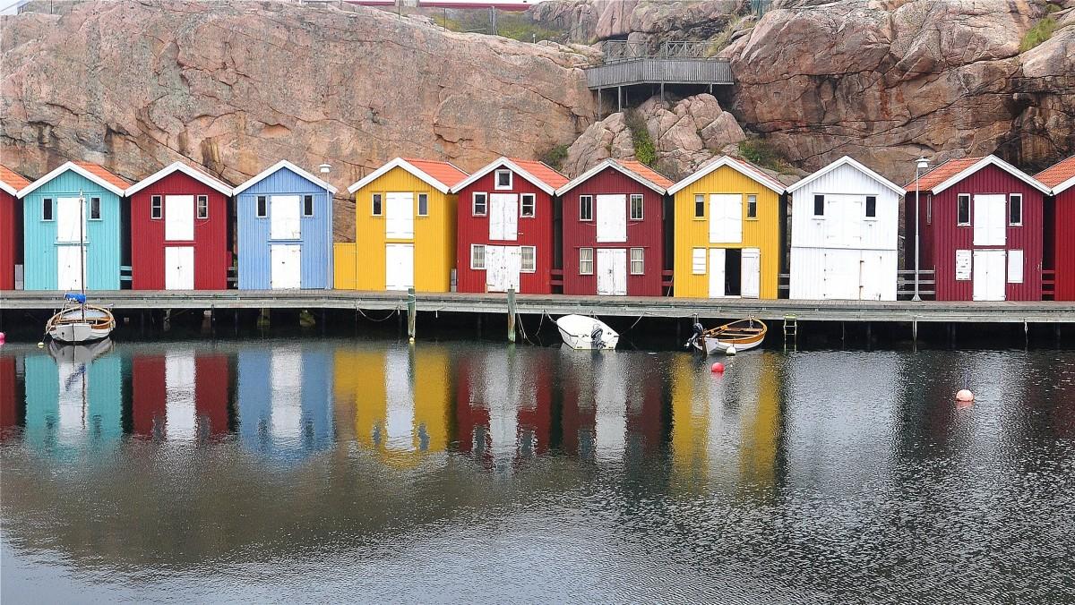 Zdjęcia: Smögen, Vastra Gotaland, Kolorowe domki wzdłuż Smögenbryggan, SZWECJA