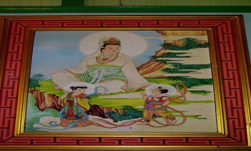 Zdjecie TAJLANDIA / Bangkok / chińska dzielnica - w świątyni /  malowane na jedwabiu