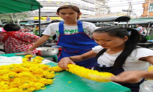 Zdjecie TAJLANDIA / - / Bangkok / Na targu kwiatowym