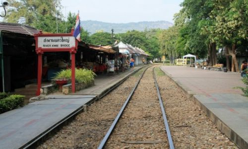 Zdjecie TAJLANDIA / Kanchanaburi / Kanchanaburi / stacja przy moście na rzece Kwai