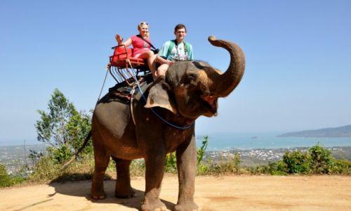 TAJLANDIA / Phuket / w drodze do Big Buddy / szczęśliwy słoń z turystami na grzbiecie