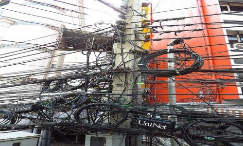 Zdjecie TAJLANDIA / Bangkok / Bangkok / typowy słup energetyczny