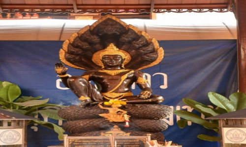 Zdj�cie TAJLANDIA / Phuket / Pobli�e p�ywaj�cego targu - Damnoen Saduak / Budda chroniony przez kobr�