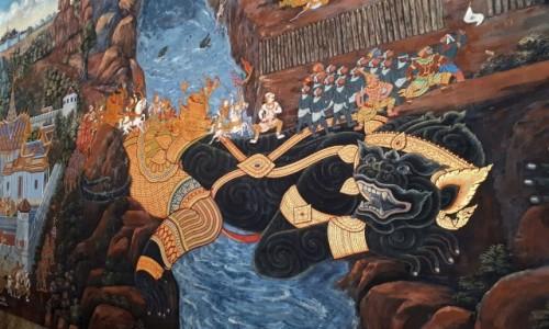 Zdjecie TAJLANDIA / Bangkok / Wat Phra Kaeo / Fantazyjne malowidła ze scenami z Ramajany