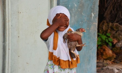 Zdjecie TANZANIA / Zanzibar / wioska Nungwi / Dziewczynka z kurką