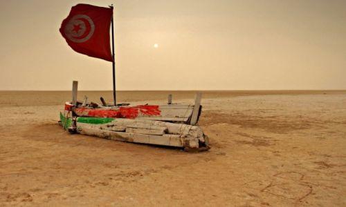 Zdjecie TUNEZJA / środkowo-zachodniej Tunezji. /  Słone Jezioro /  Kotlinowe obniżenie terenu.