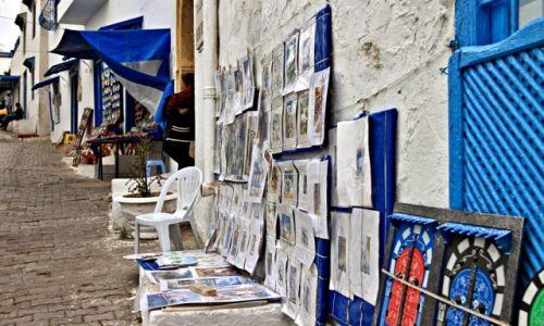 Zdjecie TUNEZJA / - / Wioska Sidi Bou Saïd, / Uliczny artysta.