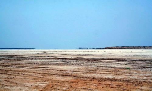 TUNEZJA / Północna Sahara / Ong Jemal / Kto widzi wodę? Miraż nad słonym jeziorem