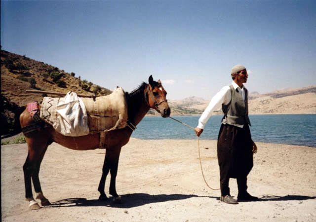 Zdjęcia: Rzeka Eufrat - niedaleko Siverek, Rzeka Eufrat i okoliczny mieszkaniec z koniem, TURCJA