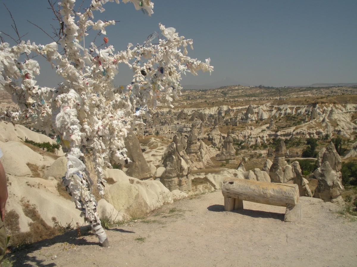 Zdjęcia: Pod drzewem życzeń i próśb, Kapadocja, Ławeczka (dla Fotodakor), TURCJA