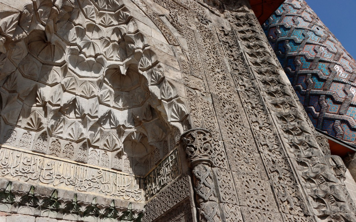 Zdjęcia: Erzurum, wschodnia Anatolia, Detale zdobień medresy Yakutiye, TURCJA