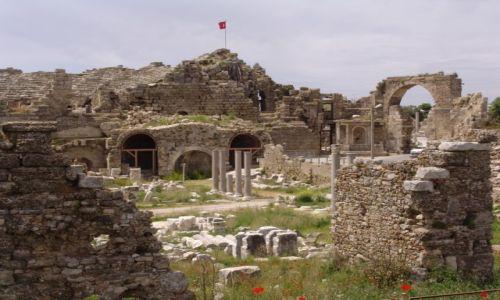 Zdjęcie TURCJA / Pamfilia / Side / Maki w ruinach rzymskiego miasta