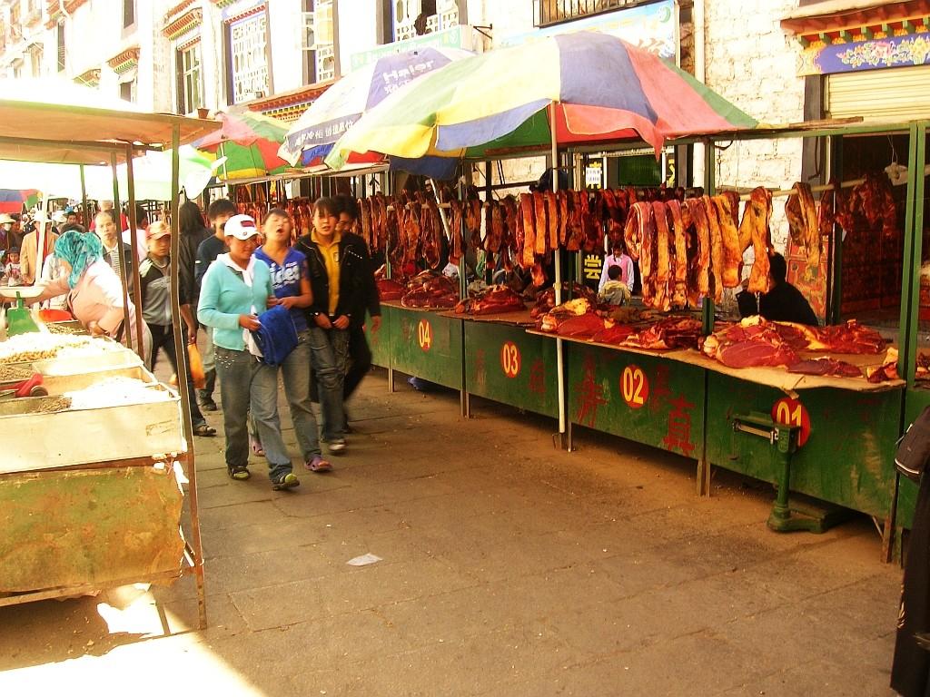 Zdjęcia: Lhasa, Lhasa, targ mięsny, TYBET
