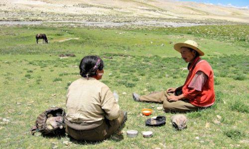 Zdjęcie TYBET / okolice Tingri / gdzieś w górach, / Śniadanie na trawie...