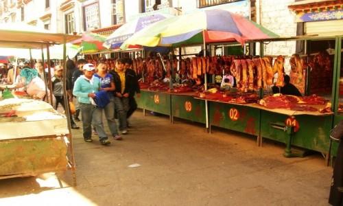 Zdjecie TYBET / Lhasa / Lhasa / targ mięsny