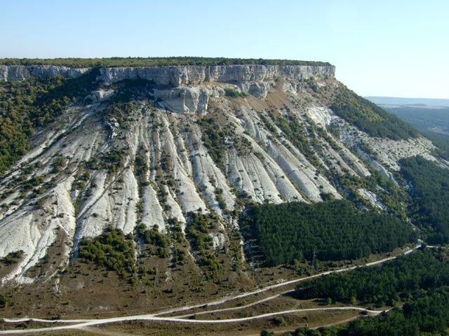 Zdjęcia: skalne miasto Czufut-Kale, Krym, Droga nad przepaścią w Czufut-Kale, UKRAINA