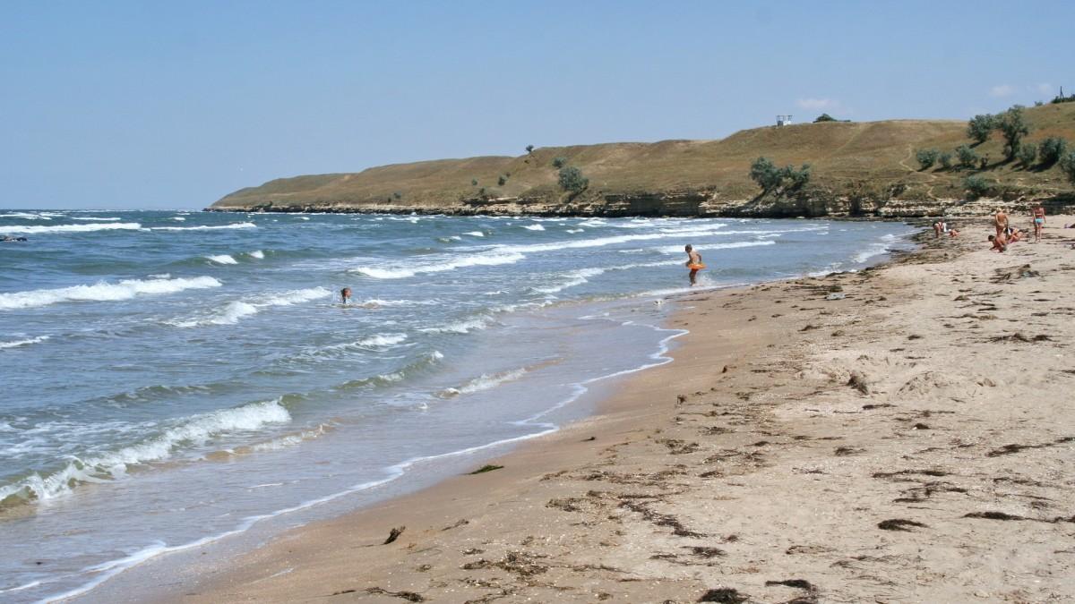 Zdjęcia: Kamianśke, Krym, Plaża u nasady Mierzei Arabackiej, UKRAINA