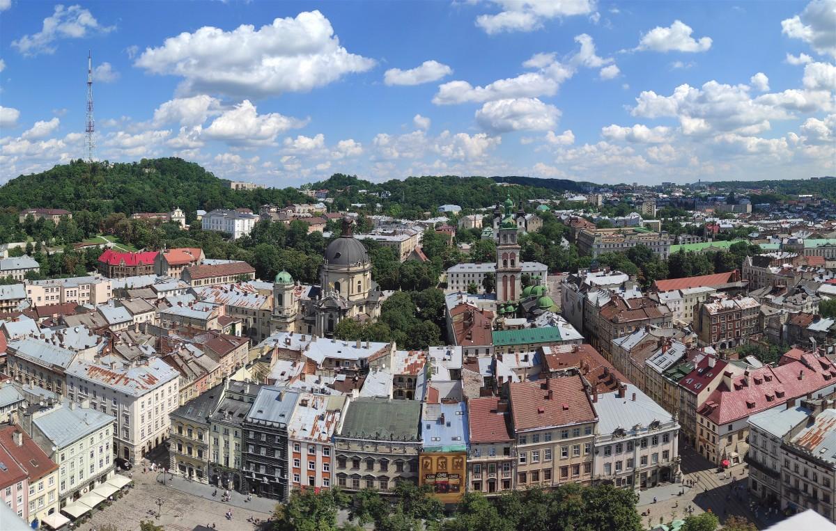 Zdjęcia: Lwów, Obwód lwowski, Panorama Lwowa z wieży Ratusza , UKRAINA
