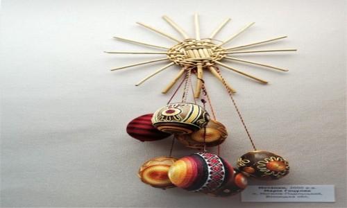 UKRAINA / Obwód Iwanofrankiwski /  Kołomyja, Muzeum pisanek / Wielkanocny stroik