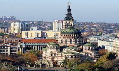 Zdjęcie UKRAINA / Charków /  Z dachu Urzędu Miejskiego / Sobór Zwiastowania