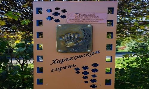 UKRAINA / Charków / Park Szewczenki, Aleja gwiazd / Odcisk dłoni Mylène Demongeot