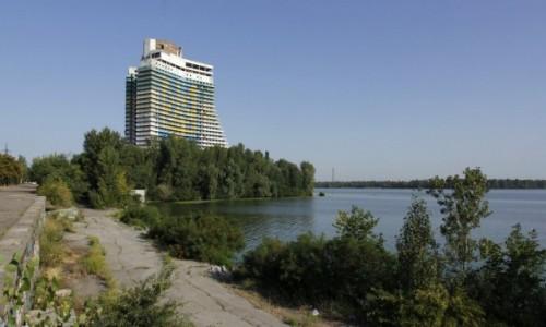 Zdjecie UKRAINA / Obwód dniepropietrowski / Dniepr / Niedokończony od lat 80. kompleks hotelowy Parus