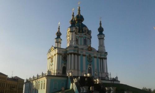 UKRAINA / Kijów / Taras widokowy obok muzeum Historycznego / Kościół św. Andrzeja-3