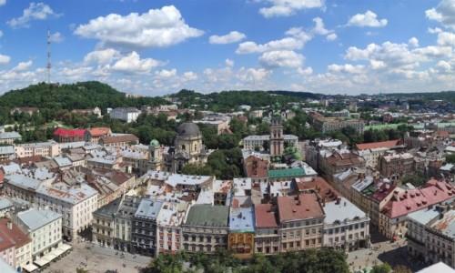 Zdjecie UKRAINA / Obwód lwowski / Lwów / Panorama Lwowa z wieży Ratusza