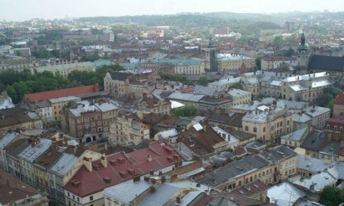 UKRAINA / Lwów / Widok z wieży ratusza / Panorama Lwowa