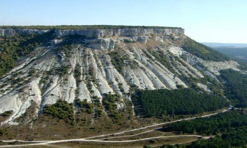 Zdjecie UKRAINA / Krym / skalne miasto Czufut-Kale / Droga nad przepaścią w Czufut-Kale