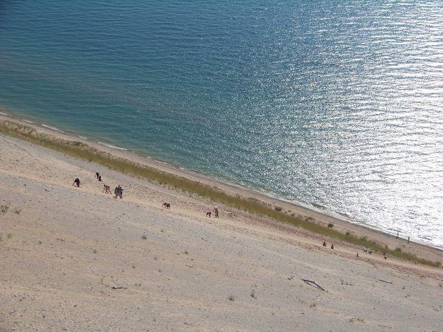 Zdjęcia: Michigan / Sleeping Bear Dunes, wspinaczka z brzegu na wydme, USA