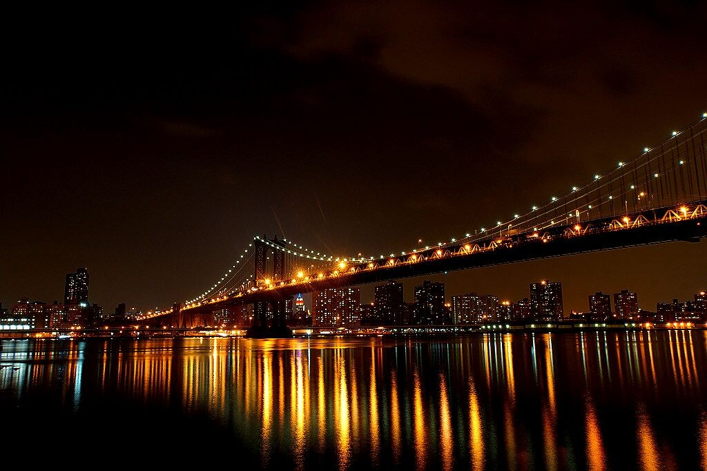 Zdjęcia: Manhattan Bridge, New York, New York by Night, USA