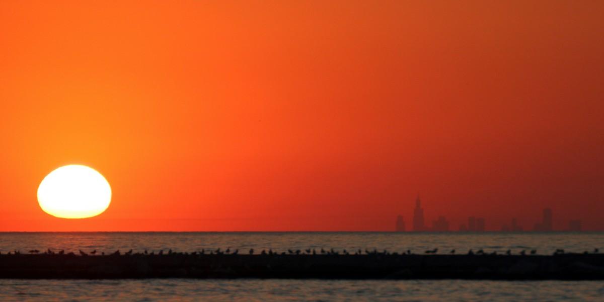 Zdjęcia: Michigan City, Illinois, Chicago widziane z przeciwnej strony Lake Michigan , USA