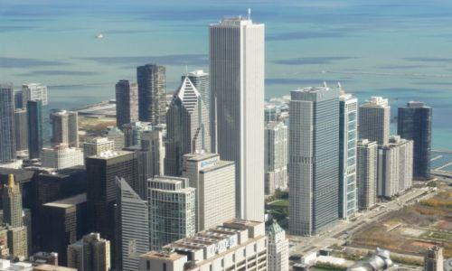 Zdjęcie USA / Illinois / Chicago, Willis Tower - 103 piętro, na wysokości 412 m / Panorama miasta na tle jeziora Michigan