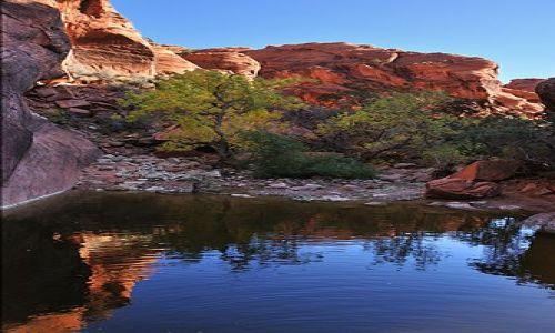Zdjecie USA / Utah / Red Cliffs / niebieska woda