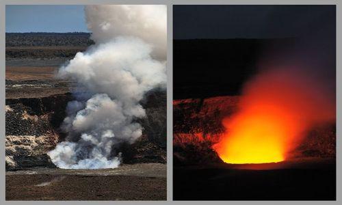 Zdjecie USA / Hawaje - wyspa Big Hawaaii / Wulkan Kilauea / Halema'uma'u Crater w dzień i w nocy