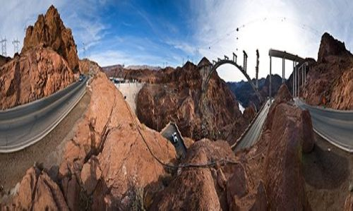 Zdjecie USA / Granica Newady i Arizony / Hoover Dam / Budowa mostu obok Hoover Dam