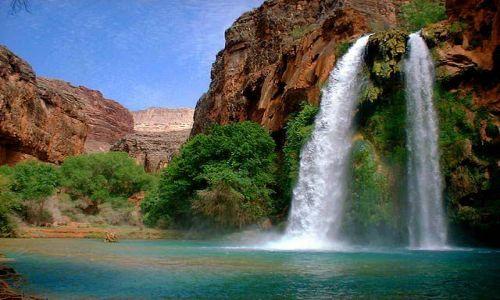 Zdjęcie USA / południowo zachodnia część Grand Canyon'u / Havasupai Indian Reservation / mooney falls