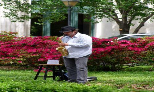 Zdjęcie USA / - / Georgia / Savannah / parkowy grajek