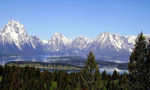 Zdjecie USA / Wyoming / Grand Teton Nat. Park / panorama  szczytów w  Grand Teton Nat.Park