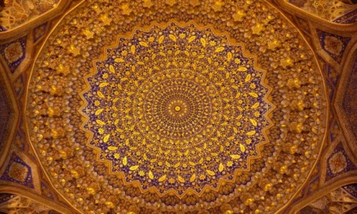 Zdjęcie UZBEKISTAN / Samarkanda / Samarkanda / Kopuła meczetu w medresie Tillja-Kari