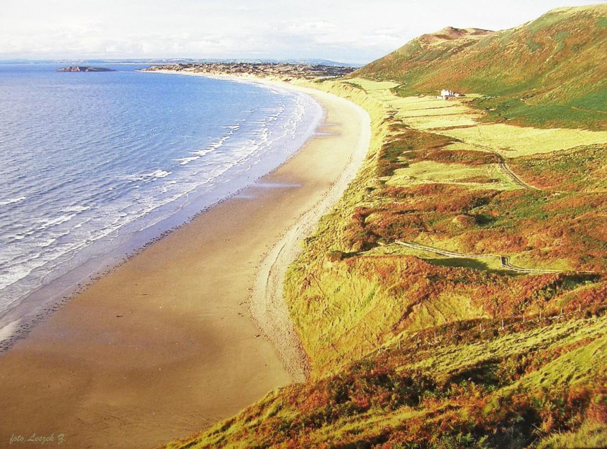 Zdjęcia: Swansea., Półwysep Gower., Rhossili Bay - Najpiękniejsza plaża Walii., WALIA