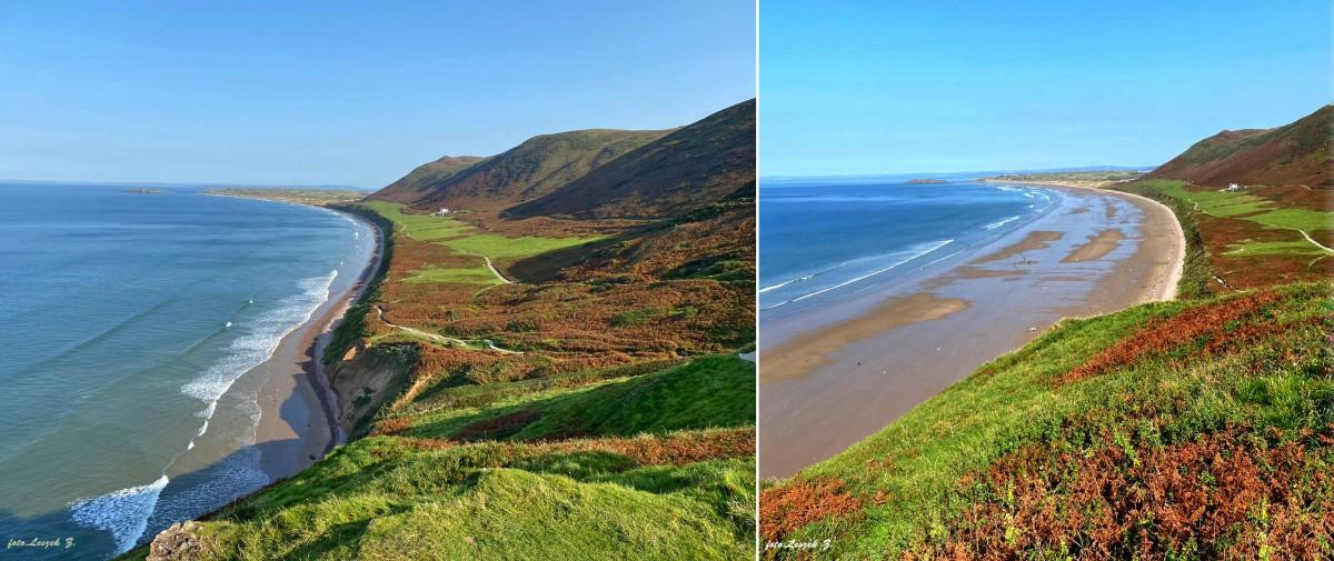 Zdjęcia: Rhossili., Swansea., Rhossili - najpiękniejsza plaża Walii w czasie przypływu i po., WALIA