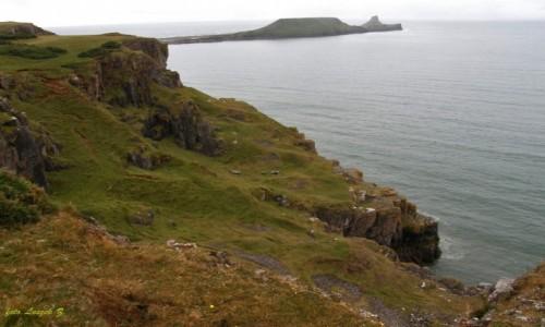 Zdjecie WALIA / Półwysep Gower w Swansea. / Półwysep  o nazwie Worm's Head / Rhossili.
