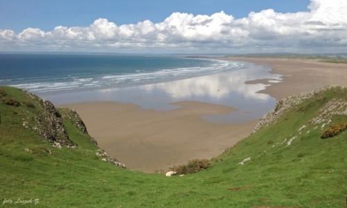 Zdjecie WALIA / Półwysep Gower. / Plaża w Swansea. / Rhossili - plaża z klifu.