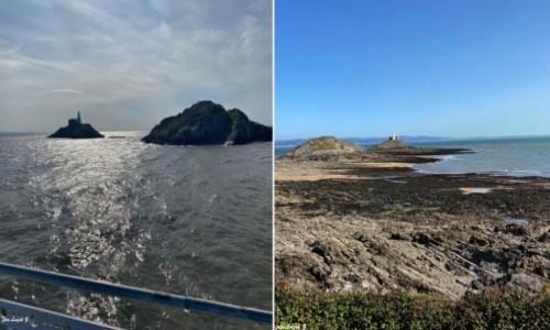 Zdjecie WALIA / Swansea. / Mumbles. / Mumbels - Latarnia morska w czasie przypływu i po odpływie z dwóch stron.