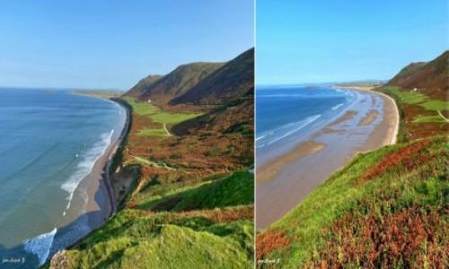 Zdjecie WALIA / Swansea. / Rhossili. / Rhossili - najpiękniejsza plaża Walii w czasie przypływu i po.