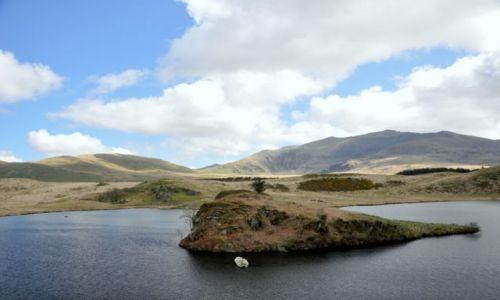Zdjecie WALIA / Polnocna Walia - Ssnowdonia / Najwyzsze gory Anglii i Walii / Jezioro w gorach - -wysepka