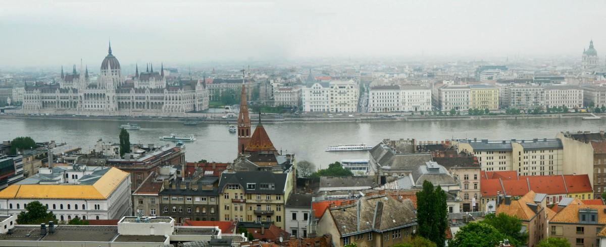 Zdjęcia: Góra Gellerta 235 m., Budapeszt., Panorama na Budapeszt z Góry Gellerta., WĘGRY