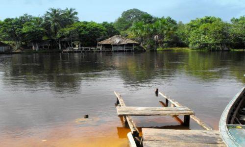 Zdjęcie WENEZUELA / delta Orinoko / przystań w wiosce indian / na przystani u Warao